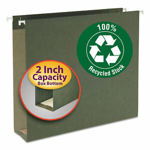 Smead Two Inch Capacity Box Bottom Hanging File Folders Letter Green 25 box