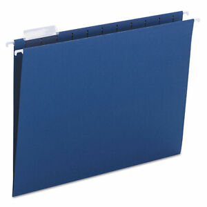 Smead Hanging File Folders 1 5 Tab 11 Point Stock Letter Navy 25 box 64057