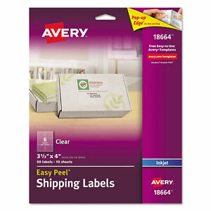 Avery Clear Easy Peel Mailing Labels Inkjet 3 1 3 X 4 60 pack 18664