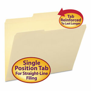 Smead Guide Height Folder 2 5 Cut Right Two ply Tab Letter Manila 100 box 10376