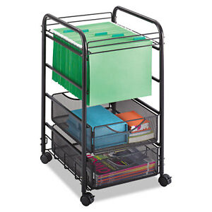 Safco Onyx Mesh Open Mobile File Two drawers 15 3 4w X 17d X 27h Black 5215bl