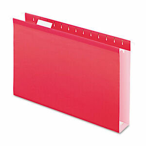 Pendaflex Reinforced 2 Extra Capacity Hanging Folders 1 5 Tab Legal Red 25 box