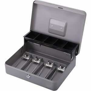 Sparco Cash Box 5 Comptmts Spring Clips 10 1 2 x7 3 8 x4 1 2 Gy 15507