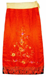 Antique Vintage Chinese Silk Embroidered Red Robe Skirt Embroidery Art Deco 20s