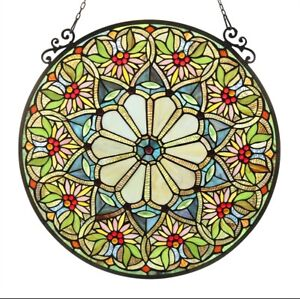 Tiffany Style Stained Glass Round Window Panel Handcrafted Only This One 100