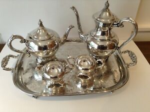 Silver Coffee Tea Service With Tray