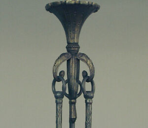 Victorian Or Deco Brass Canopy Hanging Apparatus For A Lighting Bowl Or