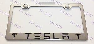Tesla With Logos Stainless Steel License Plate Frame Rust Free W Bolt Caps