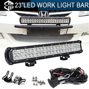 Led Light Bar For 23 License Number Plate Frame Holder Bull Bar Bumper Bracket
