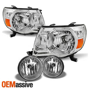For 2005 2011 Toyota Tacoma Chrome Headlights Clear Fog Lamp Pair Left Right