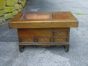 Antique Japanese Hibachi Table W 4 Drawers 2 Copper Lined Compartments
