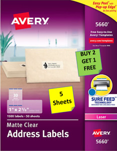 5 Sheets Avery 15660 5660 5630 Clear Address Labels 1 X 2 5 8 Laser B2g1