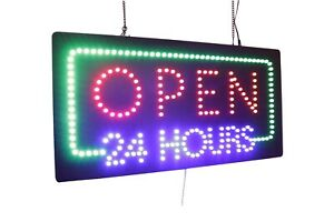 Open 24 Hours Sign Neon Sign Led Open Sign Store Sign Business Sign Window Sign
