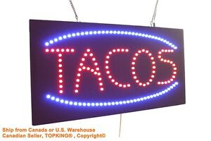 Tacos Sign Neon Sign Led Open Sign Store Sign Business Sign Window Sign