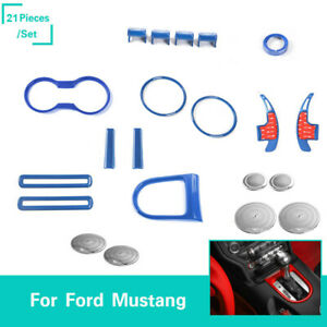36 Pcs Blue Abs Interior Trim Cover Kit Accessories Fit Ford Mustang 2015 2017