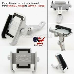 Silver Aluminum Motorcycle ATV Mirror Mount Cell Phone Holder for Smartphones