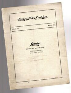 Vintage Leader Water Supplies Pump Catalog F 1 For Hit miss Engines 1914 Ny il