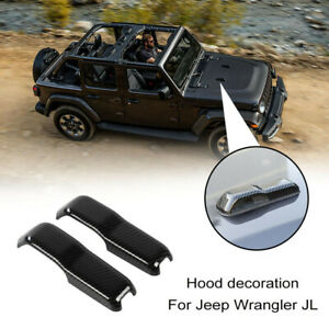 For Jeep Wrangler Jl Front Hood Decoration Trim Cover Frame 2018 19 Carbon Fiber