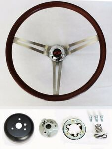 1967 1968 Chevelle El Camino Wood Steering Wheel Low Gloss Finish 15 Red black