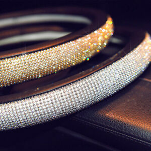 Car Steering Wheel Cover 38cm Deluxe Pu Leather Gold Rhinestone For Lady Girl