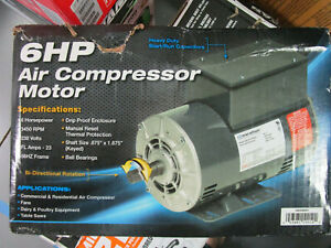 Marathon 6hp Air Compressor Motor W Bi directional Rotation Gex36531 New Dam