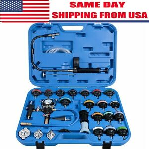 Adapters Radiator Pressure Tester Kit Coolant Vacuum Type Cooling System 28pc Hy