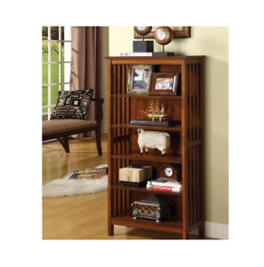 Home Bookcase Office Furniture Antique Oak Spacious Shelves Solid Wood Storage