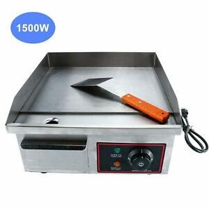 Commercial Stainless Steel Electric Thermostatic Griddle Grill Bbq Plate 1500w