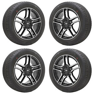 18 Ford Mustang Gt Machined Black Wheels Rims Tires Factory Oem Set 10157