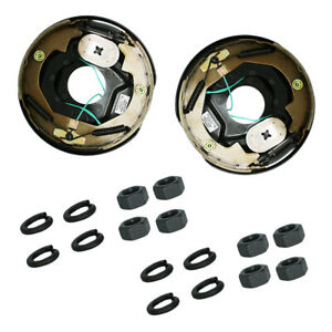 Pair 3 5k 10 X 2 1 4 Electric Trailer Brake L r 3 500 Lbs W Nuts Washers