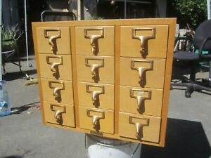 Vintage 12 Drawer Wood Gaylord Library Card File Cabinet Blond Office Furniture