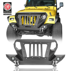 Front Bumper W Gladiator Grille Winch Plate For 1997 2006 Jeep Wrangler Tj