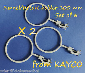 100 Mm Funnel retort Clamp Holder X 6 supports And Clamps glassware Handling