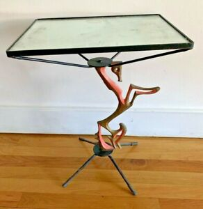 Table Frederic Weinberg Metal Horse Sculpture Mid Century Modern