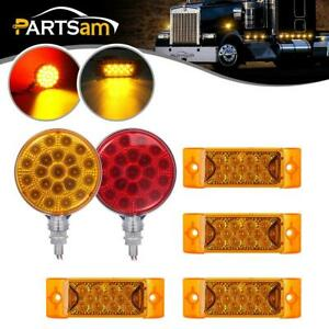 2x4 Round Dual face Led Stop turn tail parking Light 4x6 Amber Side Marker 12v