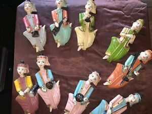 Lot Of 9 Thai Musician Carved Wood Figure Wallhanging Sculpture