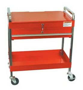 Service Cart With Locking Top And Drawer Red Suu 8013a Brand New