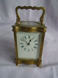 Antique French Timepiece Carriage Clock Key In Good Working Order