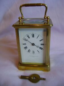 Antique Margaine Timepiece Small Carriage Clock Key In Good Working Order