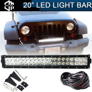 Front Bumper 22 120w Led Light Bar W Wiring Kit For 2007 2019 Jeep Wrangler Jk