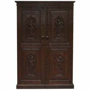 1910 Burmese Anglo Indian Hand Carved Wardrobe Armoire Cupboard Campaign Drawers