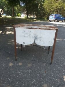 Vintage Double Basin Wash Tub Stand Metal Rustic Planter Cooler Michigan