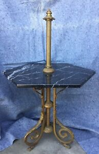 Antique Victorian Bronze Marble Piano Lamp Table