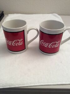 Two Coca-Cola Mugs 1997 By Gibson Housewares. Dishwasher And Microwaveable Safe