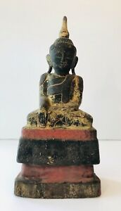 Wooden Carved Seated Burmese Thai Buddha Sculpture