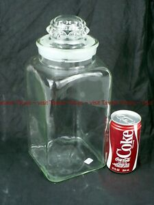 Large 1900s 13 Inch Apothecary Glass Jar With Lid