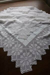 Antique Large White Irish Linen Tablecloth Hand Embroidery Crochet Lace 46