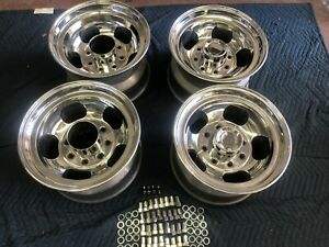 Vintage Set8 lug 9 3 4 16 5 Polished Us Mag Style Wheels Chevy Gmc Ford Dodge