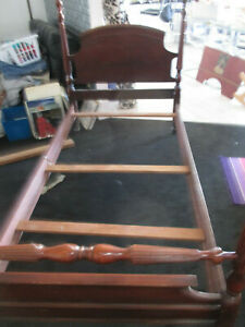 Vintage Antique Twin Bed Frame Wooden Headboard Footboard