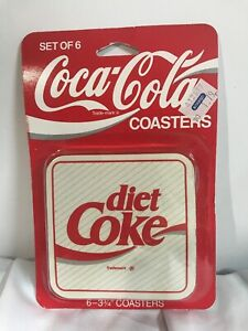 Set of 6 Original Coca-Cola Coasters RARE Diet Coke Factory Sealed 1980s Vintage